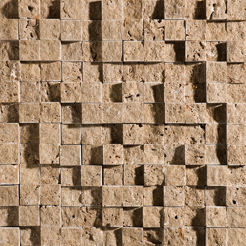 Walnut Dark Rock Face 32x32 1x1 Travertine Mosaics