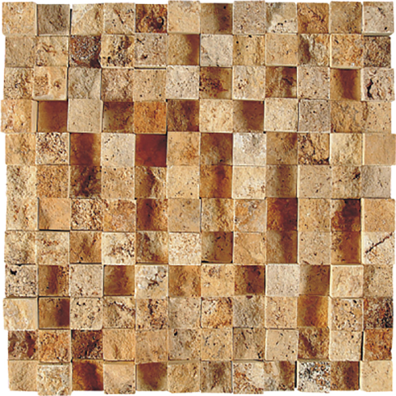 Golden Sienna Rock Face 32x32 1x1 Travertine Mosaics