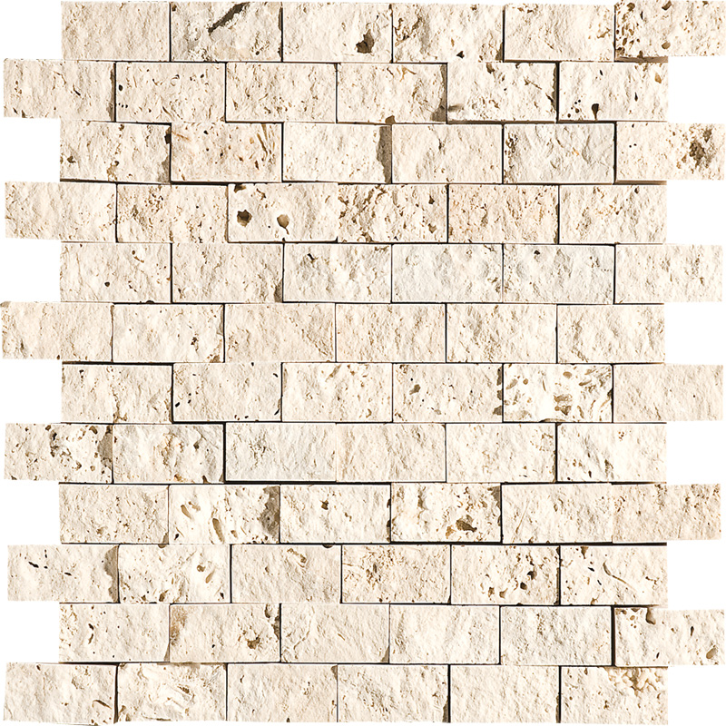 Ivory Rock Face 32x32 1x2 Travertine Mosaics