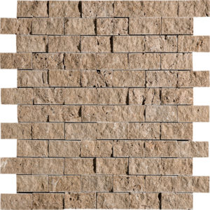 Walnut Dark Rock Face 2,5x5 Travertine Mosaics 32x32
