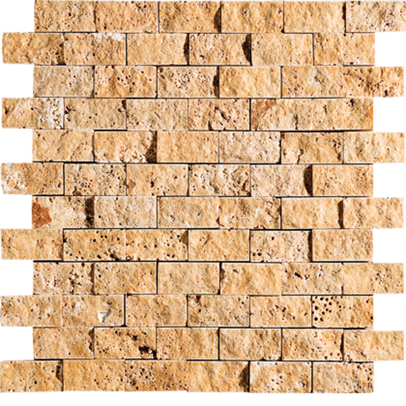 Golden Sienna Rock Face 30x31 1x2 Travertine Mosaics