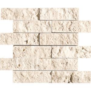 Ivory Rock Face 2x6 Travertine Mosaics 30,5x30,5