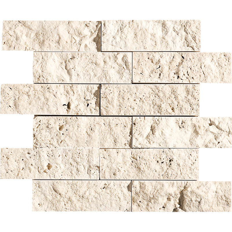 Ivory Rock Face 30,5x30,5 2x6 Travertine Mosaics