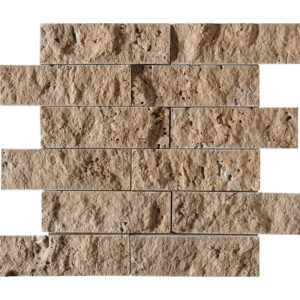 Walnut Dark Rock Face 5x15,2 Travertine Mosaics 30,5x30,5