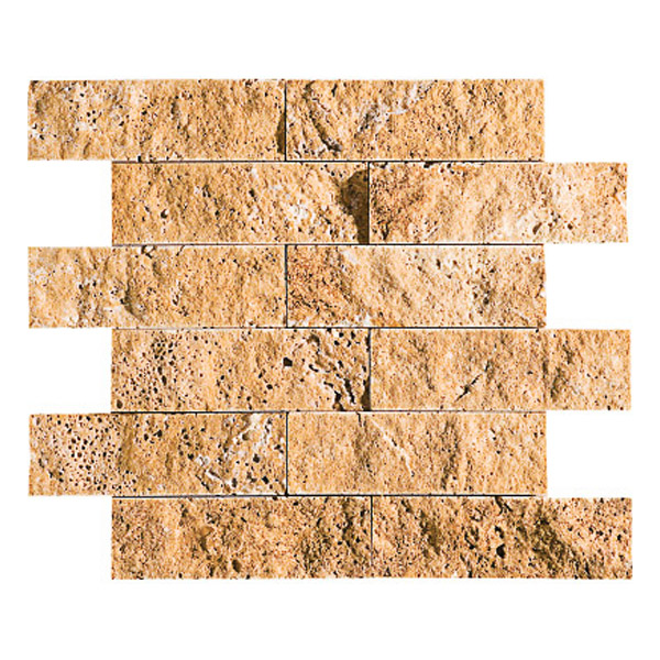 Golden Sienna Rock Face 30,5x30,5 2x6 Travertine Mosaics