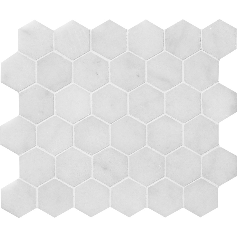 Glacier Honed 26,5x31 Hexagon Marble Mosaics