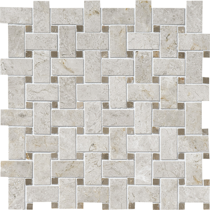 Silver Clouds&tobacco Polished 30,5x30,5 Basket Weave Marble Mosaics