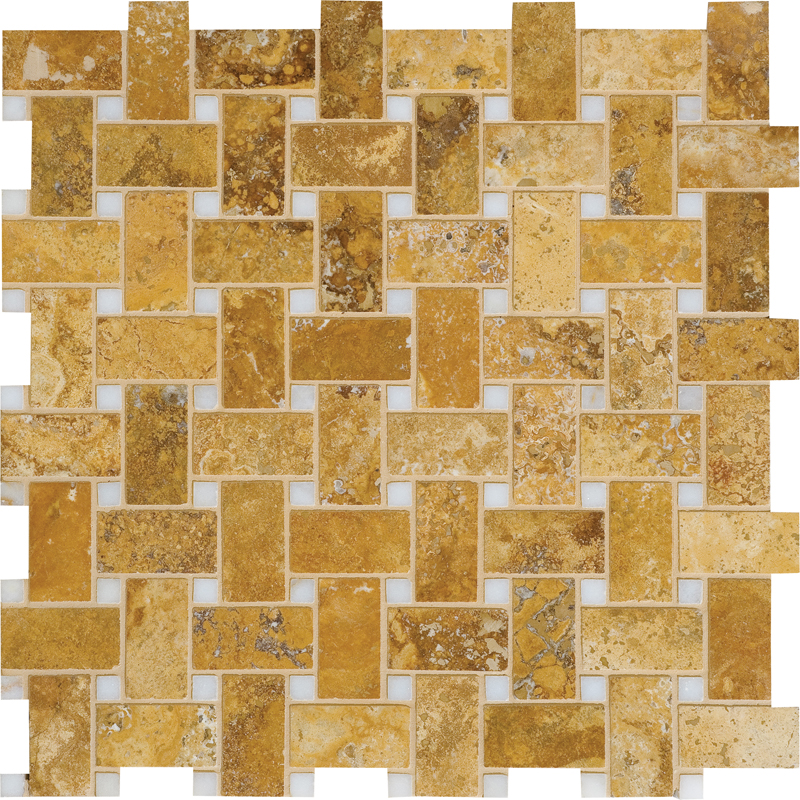 Golden Sienna Honed&filled 31x31 Basket Weave Travertine Mosaics
