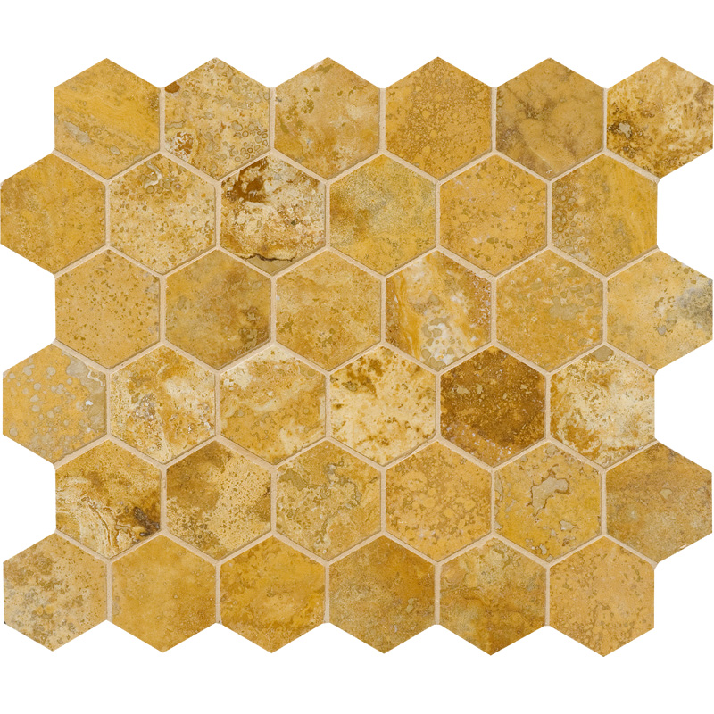 Golden Sienna Honed&filled 26,5x31 Hexagon Travertine Mosaics