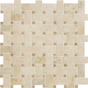 Ivory Honed&filled Basket Weave Travertine Mosaics 30,5x30,5