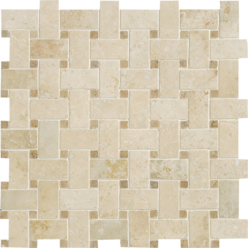 Ivory Honed&filled 31x31 Basket Weave Travertine Mosaics