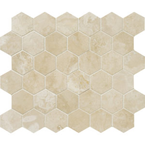 Ivory Honed&filled Hexagon Travertine Mosaics 26,5x31