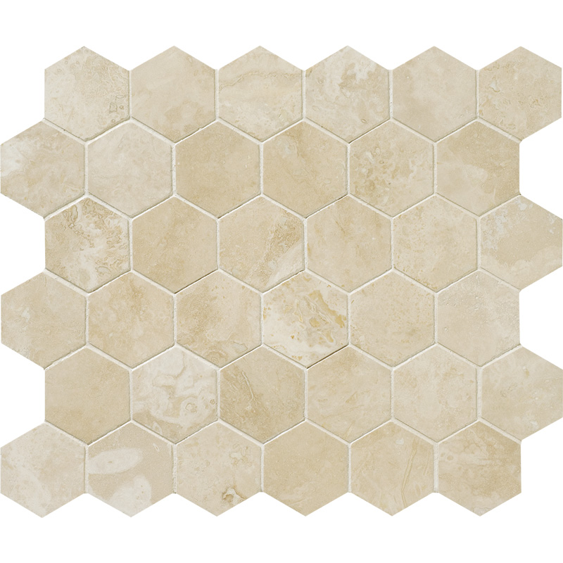 Ivory Honed&filled 26,5x31 Hexagon Travertine Mosaics