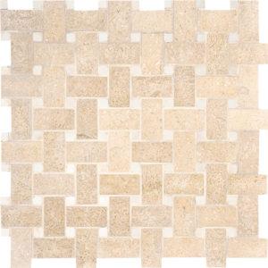 Seashell Honed Basket Weave Limestone Mosaics 30,5x30,5