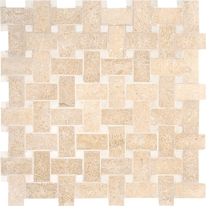 Seashell Honed 31x31 Basket Weave Limestone Mosaics