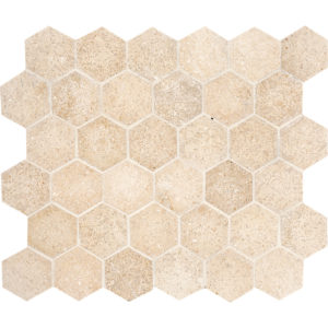 Seashell Honed Hexagon Limestone Mosaics 26,5x31