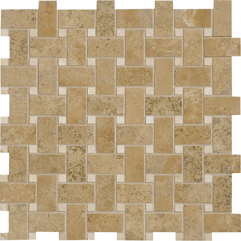 Walnut Dark Honed&filled 31x31 Basket Weave Travertine Mosaics