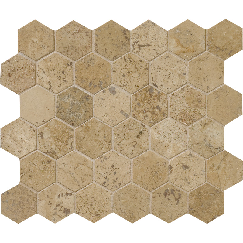 Walnut Dark Honed&filled 26,5x31 Hexagon Travertine Mosaics