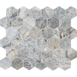 Silverado Honed&filled Hexagon Travertine Mosaics 26,5x31