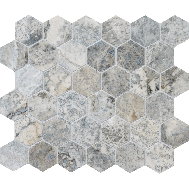 Silverado Honed&filled 26,5x31 Hexagon Travertine Mosaics