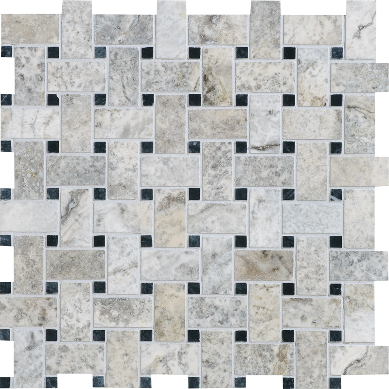 Silverado Honed&filled 31x31 Basket Weave Travertine Mosaics