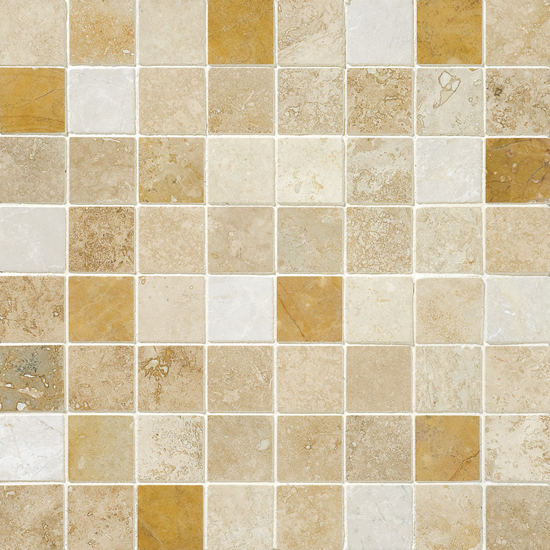 Aspen Dawn Honed&filled 2,3x2,3 Travertine Mosaics 30,5x30,5