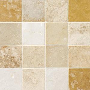 Aspen Dawn Honed&filled 7,62x7,62 Travertine Mosaics 30,5x30,5