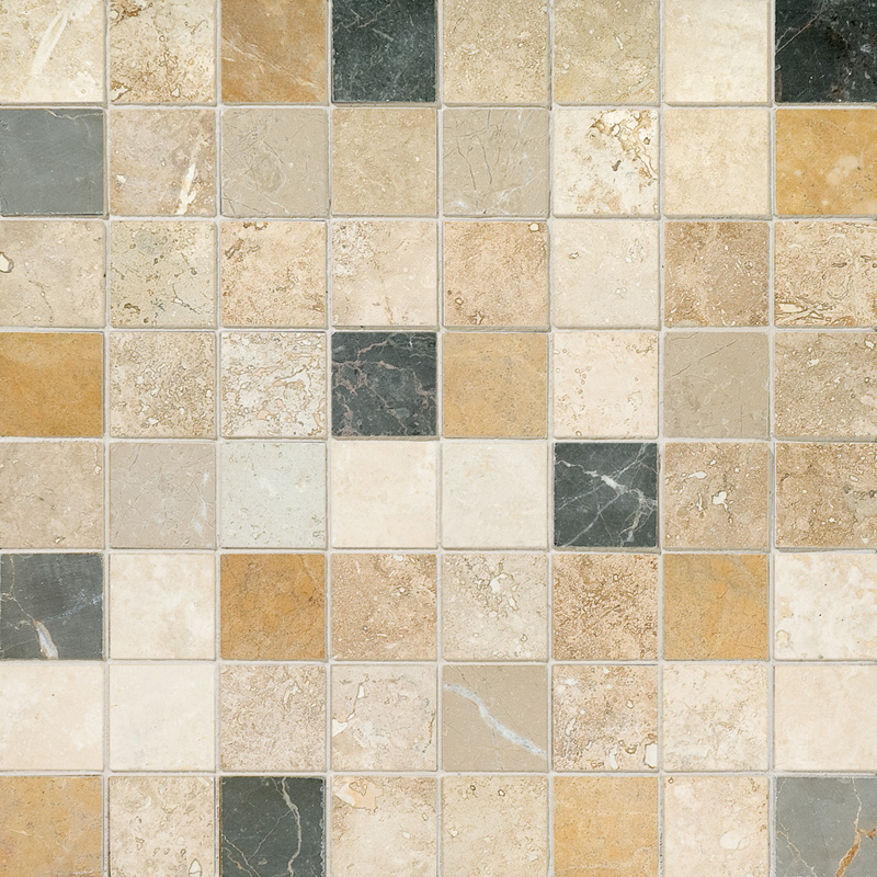 Aspen Dusk Honed&filled 2,3x2,3 Travertine Mosaics 30,5x30,5