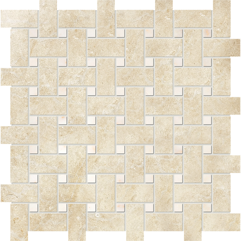 Casablanca&afyon Sugar Honed 30,5x30,5 Basket Weave Limestone Mosaics