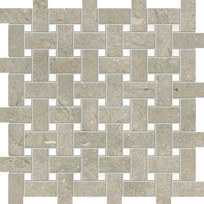 Olive Green&afyon Sugar Honed 31x31 Basket Weave Limestone Mosaics