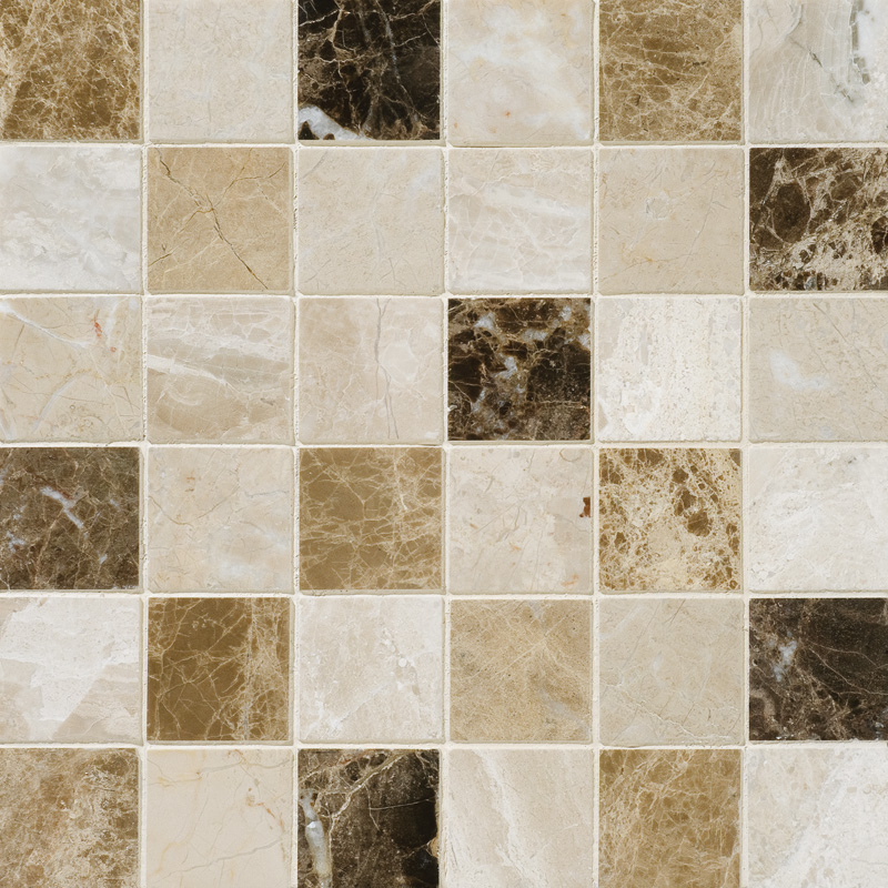 Milano Dark Blend Polished 30,5x30,5 2x2 Marble Mosaics
