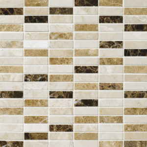 Milano Dark Blend Polished 1,5x5 Marble Mosaics 30,5x30,5