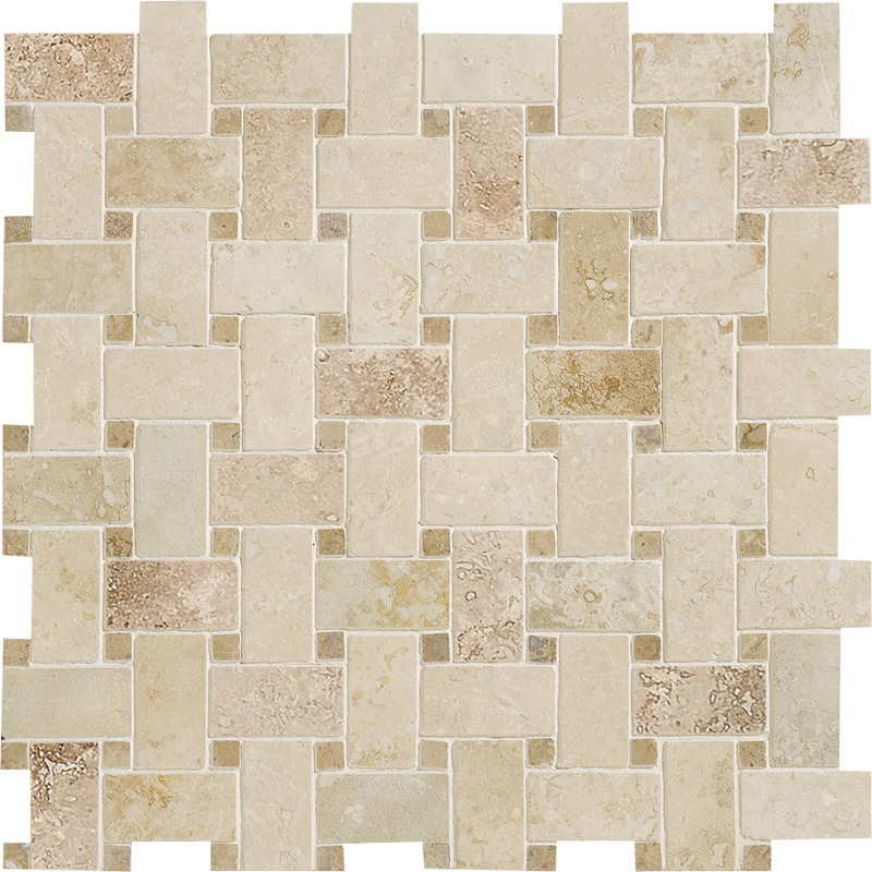 Canyon&walnut Dark Honed&filled 31x31 Basket Weave Travertine Mosaics