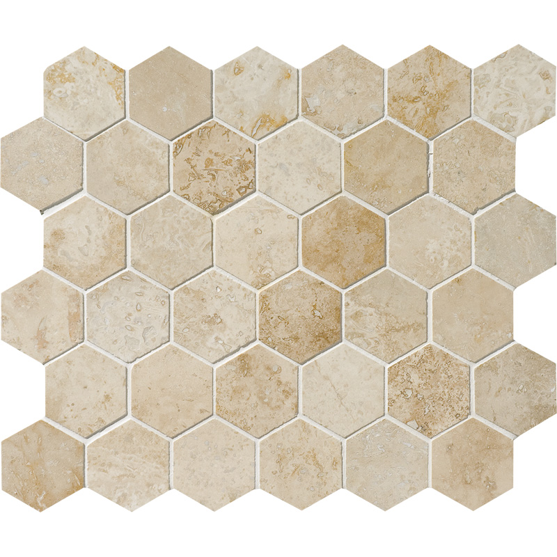 Canyon Honed&filled 26,5x31 Hexagon Travertine Mosaics