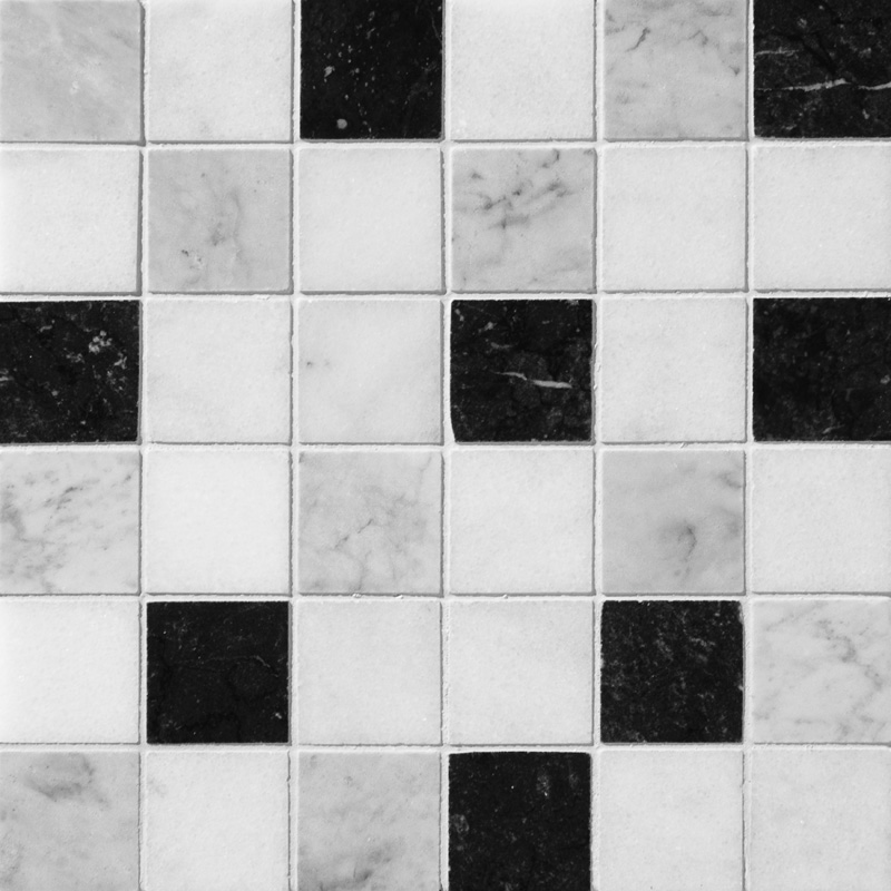 Black White Grey Polished 30,5x30,5 2x2 Marble Mosaics