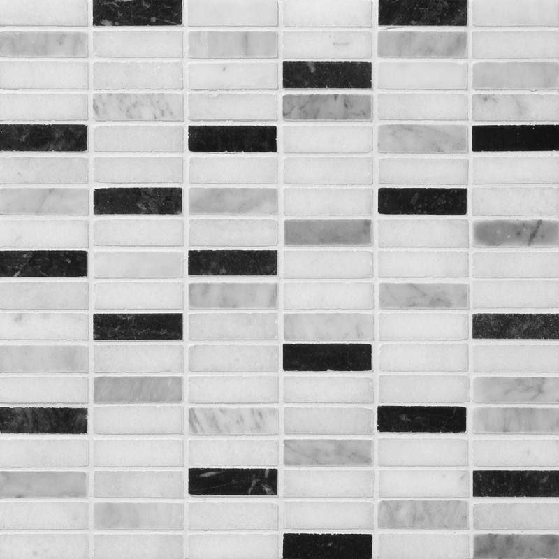 Black White Grey Polished 30,5x30,5 5/8x2 Marble Mosaics