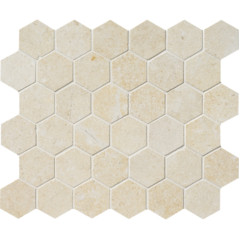 Casablanca Honed 26,5x31 Hexagon Limestone Mosaics