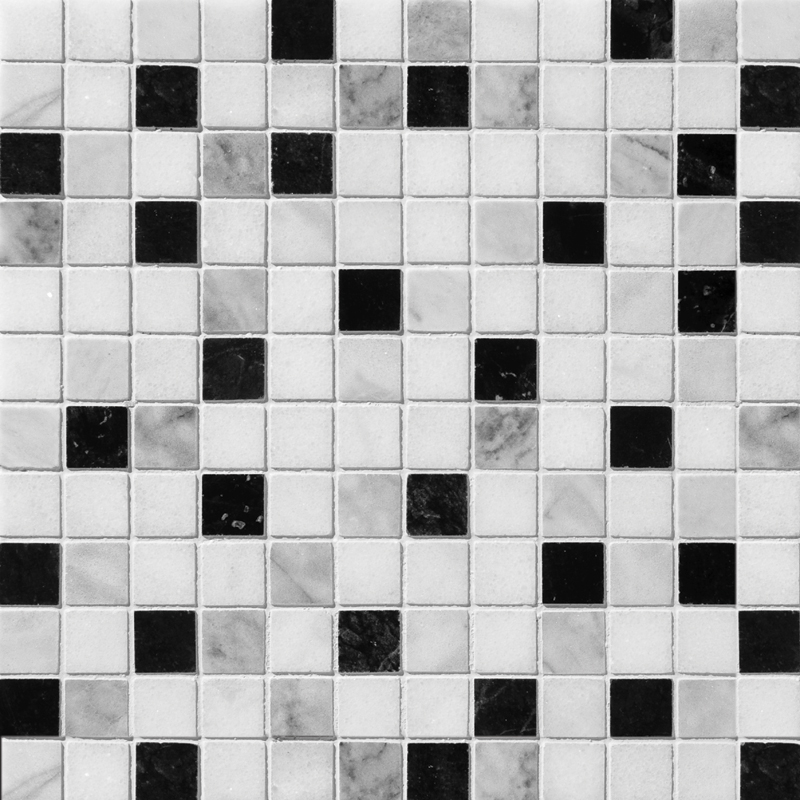 Black White Grey Polished 30,5x30,5 1x1 Marble Mosaics