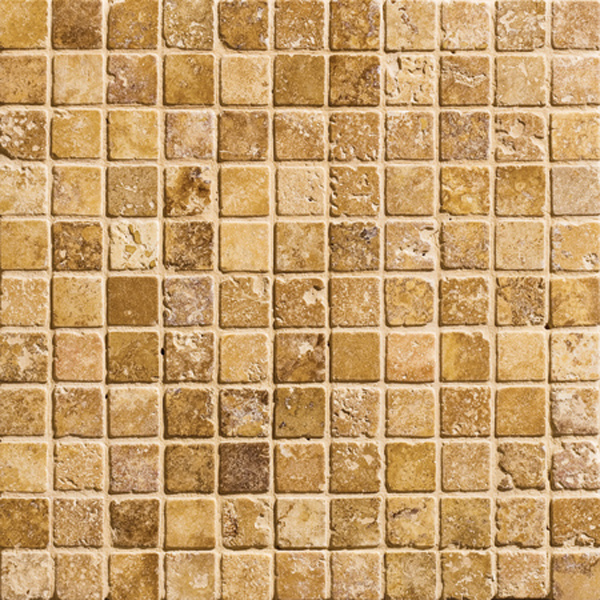 Golden Sienna Tumbled 30,5x30,5 1x1 Travertine Mosaics