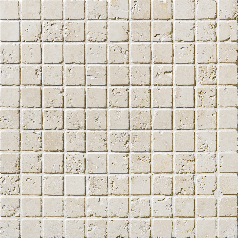 Ivory Tumbled 2,3x2,3 Travertine Mosaics 30,5x30,5