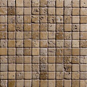 Walnut Dark Tumbled 2,3x2,3 Travertine Mosaics 30,5x30,5