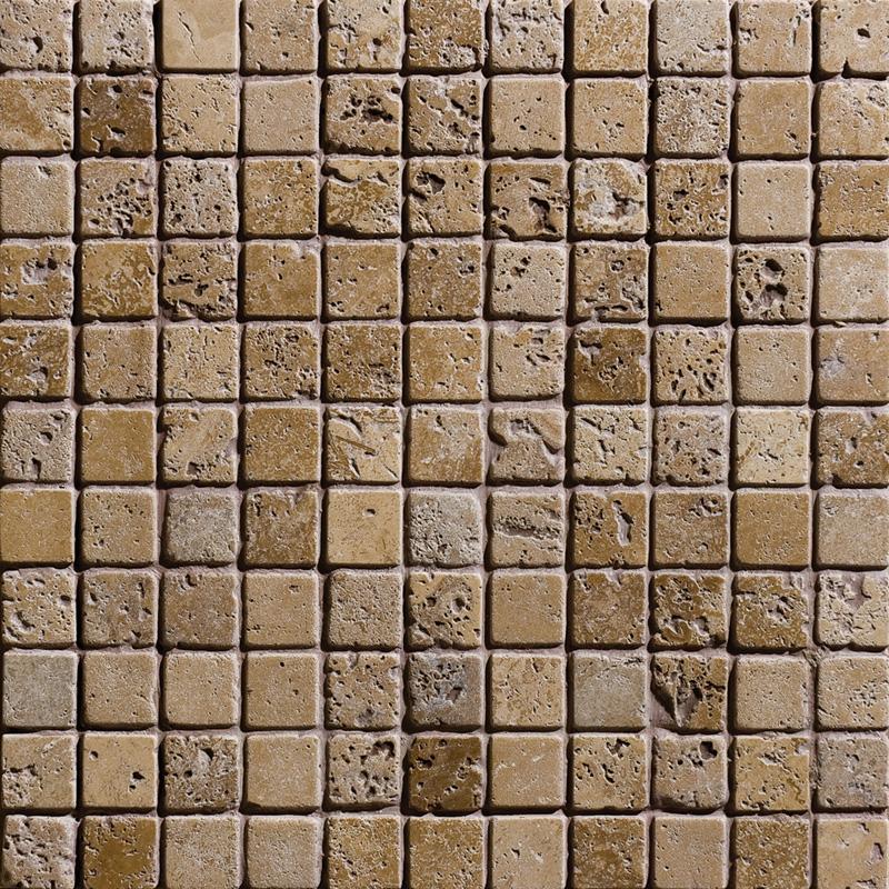 Walnut Dark Tumbled 2,3×2,3 Travertine Mosaics 30,5×30,5
