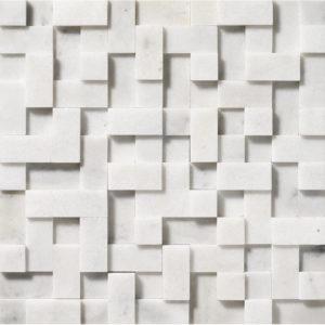 Glacier Honed Random Cubes Marble Mosaics 30,5x30,5