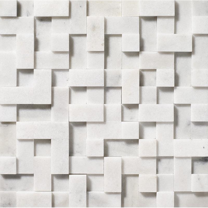 Glacier Honed 30,5x30,5 Random Cubes Marble Mosaics