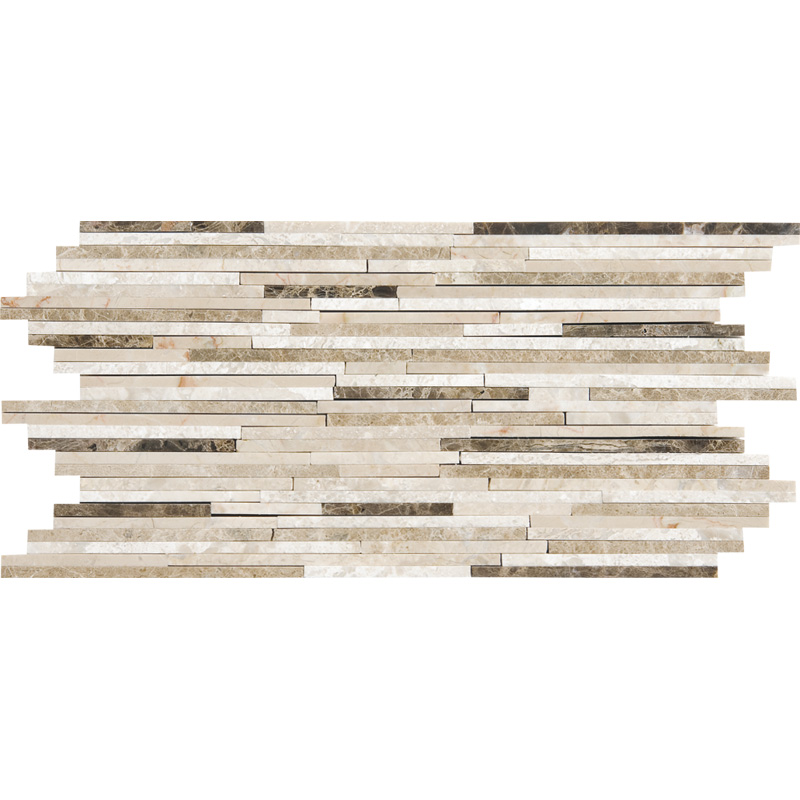 Milano Dark Blend Polished 15,2x30,5 Bamboo Marble Mosaics