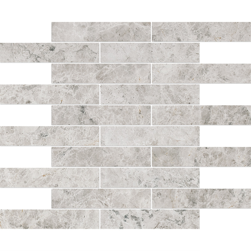 Silver Shadow Honed 30,5x30,5 1 1/4x6 Marble Mosaics