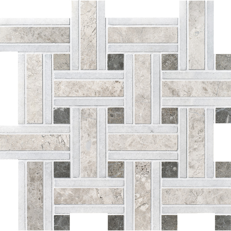 Silver Shadow Honed 30,5x30,5 Lattice Marble Mosaics