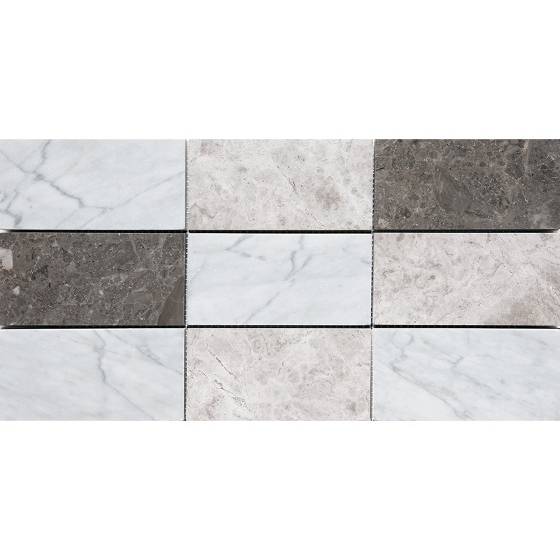 Massa Honed 21,5x42,5 Subway On Mesh 2 3/4x5 1/2 Marble Mosaics