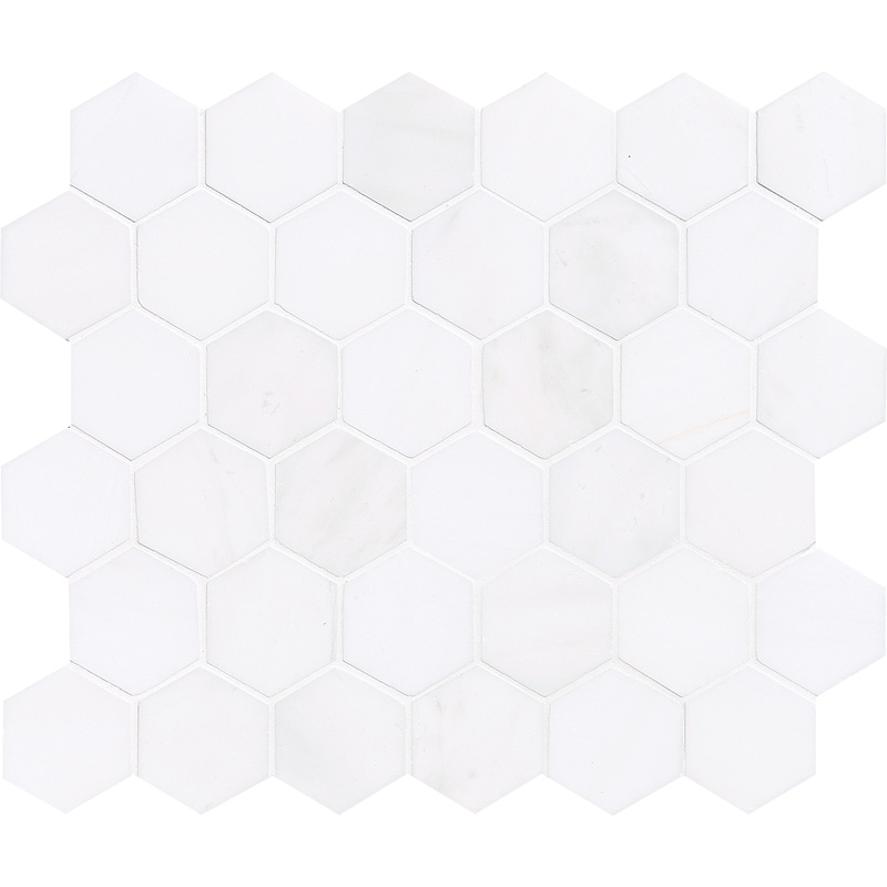 Snow White Polished 26,5x31 Hexagon Marble Mosaics