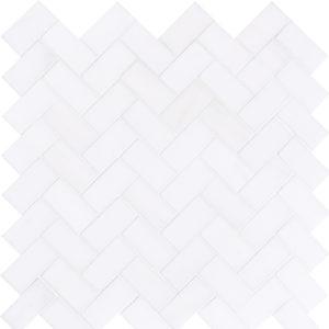 Snow White Polished Herringbone Marble Mosaics 30,5x33,5